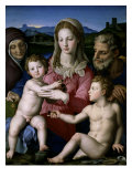 Holy Family with Saint Anne and John the Baptist Premium Giclee Print by Agnolo Bronzino