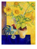 Rooster and Sunflowers (Coq et Tournesols) Giclee Print by Isy Ochoa