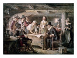 Signing the Mayflower Compact, 1620 Reproduction proc&#233;d&#233; gicl&#233;e par Jean Leon Gerome Ferris