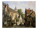 Street Scene in Delft Giclee Print by Willem Koekkoek