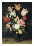 Tulips, Roses and Other Flowers in a Glass Giclee Print by Balthasar van der Ast
