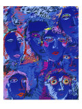 Blue Faces Giclee Print by Diana Ong