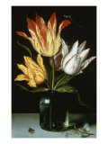 Tulips In A Glass Vase Lámina giclée por Ambrosius Bosschaert the Elder