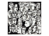 Faces in Black and White Giclee Print by Diana Ong
