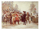 Landing of William Penn, 1682 Giclee Print by Jean Leon Gerome Ferris