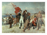 Capt Cook Landing at Botany Bay Reproduction proc&#233;d&#233; gicl&#233;e par Emanuel Phillips Fox