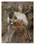 Jacob Wrestles with an Angel Giclee Print by  Rembrandt van Rijn