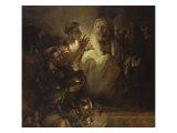 Denial of St. Peter Giclée-tryk af  Rembrandt van Rijn