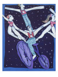 Acrobats on a Bicycle Giclee Print by Leslie Xuereb