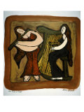 Flute and Harp Duo Giclee Print by Leslie Xuereb