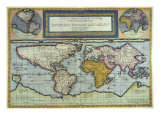 World Map, Totus Orbis Cogniti Universalis Reproduction proc&#233;d&#233; gicl&#233;e par Gerard De Jode
