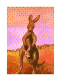 Red Roo and Joey Giclee Print by John Newcomb