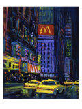 Racing Taxis at Night, New York City Giclee Print by Patti Mollica