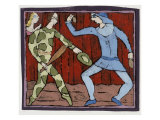 Harlequin and Scaramouche (Commedia Dell'Arte) Giclee Print by Leslie Xuereb