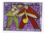 Saxo-Trumpet Duo Giclee Print by Leslie Xuereb