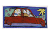 The Red Car Giclee Print by Leslie Xuereb