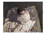 Woman Sitting on a Quilt Giclee Print by Helen J. Vaughn