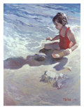 Little Girl on the Beach Giclee Print by Patti Mollica