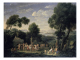 A Wooded Italianate Landscape with Nymphs Giclee Print by Hendrik Frans Van Lint