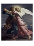 Jacob Wrestles with an Angel Giclee Print by Edward Jakob Von Steinle