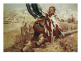 Sgt William Jasper Replacing the Flag (Cont) Giclee Print by Frederick Coffay Yohn