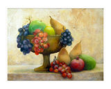 Fruit in a Pedestal Bowl Giclee Print by denise jenkins
