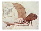 Leonardo da Vinci - Uçan Makine - Giclee Baskı