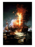 Burning of the Frigate Philadelphia Stampa giclée di Edward Moran