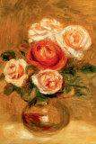 Roses dans un vase Posters par Pierre-Auguste Renoir