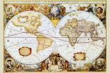 Wereldkaart met Engelse tekst Schilderijen