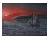 Sailboat in Twilight Giclee Print by Christian A Simonian