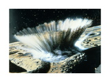 A Meteorite Crashes Creating a Storm of Rocks and Dust on Mercury Giclee Print by Chris Foss