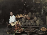 Lady Sits by Her Bangkok Stand of Unique Fruit Photographic Print by W. Robert Moore