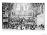Westminster Hall, West End, with the Courts of Chancery and Kings in Session Lámina giclée por Wenceslaus Hollar