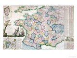 Road Map of France Following the New Divisions into 83 Departments Giclee Print