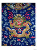 A Blue-Ground Embroidered Kesi Dragon Robe, Detail of Dragon, Qing Dynasty Giclee Print