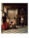 Interior, Woman Drinking with Two Men, circa 1658 Giclee Print by Pieter de Hooch