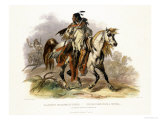 A Blackfoot Indian on Horseback, Plate 19 from Volume 1 of Travels in the Interior of North America Giclee Print by Karl Bodmer