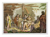 Indians Trading with La Perouse in Canada Giclee Print by G. Bramati