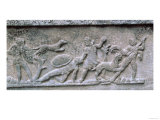 Etruscan Sarcophagus in an Oriental Style with Relief Depicting a Hunt, 6th Century BC Giclee Print