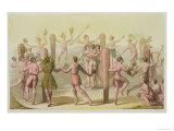 Indigenous Natives Doing a Ceremonial Dance Giclee Print by John White