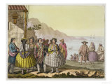 """Men and Women in Elaborate Costume, Chile, from """"Le Costume Ancien Et Moderne"""" Giclee Print by G. Bramati"""
