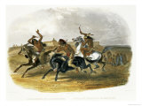 Horse Racing of Sioux Indians Near Fort Pierre Premium Giclee Print by Karl Bodmer