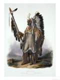 "Mato-Tope, a Mandan Chief, Plate 13 from Volume 2 of ""Travels in the Interior of North America"" Giclee Print by Karl Bodmer"