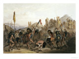 Bison-Dance of the Mandan Indians in Front of Their Medicine Lodge in Mih-Tutta-Hankush Premium Giclee Print by Karl Bodmer