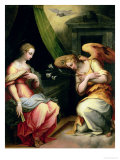 The Annunciation (panel) Giclée-Druck von Giorgio Vasari