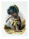 Pehriska-Ruhpa, Minatarre Warrior in the Costume of the Dog Dance Giclee Print by Karl Bodmer