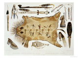 "Indian Utensils and Arms, Plate 21 from Volume 2 of ""Travels in the Interior of North America"" Giclee Print by Karl Bodmer"