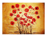 Poppies on Gold Chalk Giclee Print by Cat Horvoth