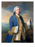 Portrait of Captain David Brodie Holding a Telescope Giclee Print by Philippe Mercier